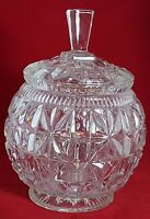 Beautiful Large Cut Glass Crystal Candy Bowl with Lid. Weight 2.220 Kg.
