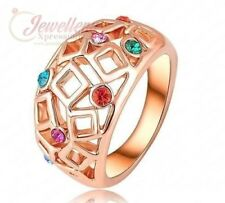 Rose Gold Plated  Multicolor Austrian Crystal Tiny Square Ring R080