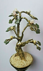 MID CENTURY JADE GARDEN BONSAI TREE and PEARL EGGS IN A NEST DESIGNED BY SWOBODA