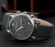 EMPORIO ARMANI AR1735 Chronograph Silver Tone Round Gray Leather Men Watch