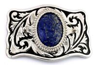 Silver Color Southwest Western Oval Natural Lapis Cabochon Belt Buckle EPBB94
