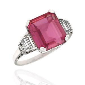 4.90ct Pink Tourmaline & 0.42ctw Diamond Ring in Platinum