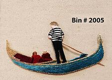 "3pcs Gondola Venetian Rowing Boat Canoe Riding IRON ON EMBROIDERED APPLIQUE 4""W"