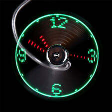 LED Clock Fan Mini USB Powered Cooling Flashing Real Time Display Function NEW