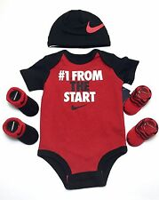 NIKE Newborn Baby Boys 4-piece Outfit Gift set Bodysuit, Cap, Booties, 0-3Months
