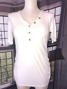 Isabel XL NWT elbow sleeve maternity henley Button Neck Cream