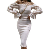 Womens Off Shoulder Long Sleeve Midi Dress Evening Party Bodycon Pencil Dresses