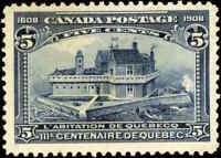 1908 Mint Canada F-VF Scott #99 5c Quebec Tercentenary Stamp No Gum