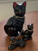 Set Vintage Redware Pottery Black Mother Cat w/ 2 Kittens on Chain Green Eyes