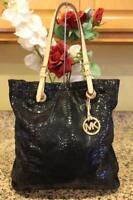 Michael Kors Black Croc Pattern Jet Set Patent Leather Tote Bag (u110
