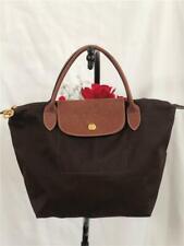 LONGCHAMP Le Pliage Small Brown Nylon Leather Trims Handbag