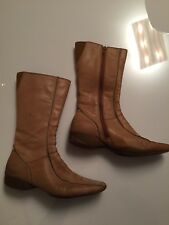 Kenneth Cole Reaction Leather Light Tan Boots Size 7 Mid Calf