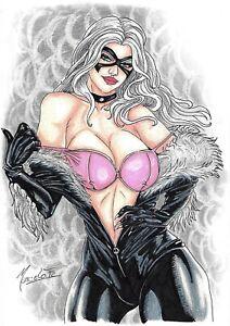 """Black Cat (09""""x12"""") original and unique comic art 1/1 by Marcelo Fz"""