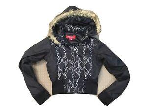 BABY PHAT  - Ladies Black Cropped, Hooded Jacket   - 8