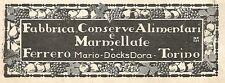 Y2621 Marmellate Ferrero - Docks Dora - Torino - Pubblicità del 1922 - Old ad