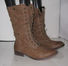 new ladies Brown Lace Rugged Military Combat Sexy Mid-Calf Winter Boots Size 7.5