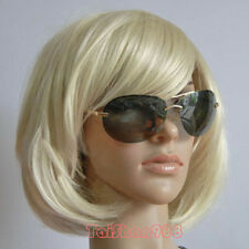 Hot Sell New Fashion Short Blonde Straight Women's Lady's Hair Wig Wigs + Cap