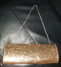PRIMARK GOLD GLITTER / DIAMANTE CLUTCH BAG / HANDBAG ***BNWT** GREAT FOR XMAS