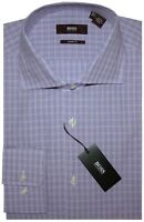 NEW HUGO BOSS WHITE & PURPLE TONES PLAID SLIM SHARP FIT DRESS SHIRT 16 32/33