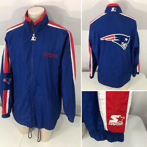Vintage 90s STARTER Men's XL New England Patriots Full Zip Windbreaker Jacket
