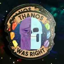 """THANOS WAS RIGHT / Infinity War sticker / 3"""" Marvel Skull Fan Art Decal"""