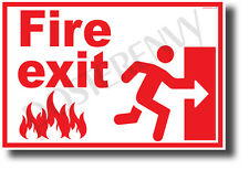 Fire Exit Right - NEW Laboratory or Classroom Fire Safety Poster (ms316)