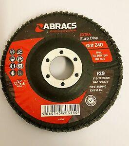 "ABRACS F29 EXTRA FLAP DISC Z40 GRIT 115x22.33 ( fits 4 1/2"" angle grinder)"