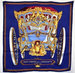 """Auth HERMES """"Grand Carrosse Pour Un Ambassadeur"""" Blue Silk 26"""" Square Scarf"""