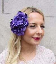 Large Double Purple Rose Flower Hair Clip Rockabilly Fascinator 1950s Big 2698