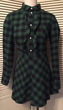 RED Valentino Green Black Flannel Check Buffalo Plaid Cotton Dress 12 NWT $695