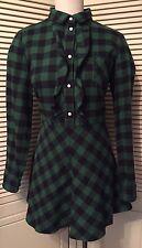 RED Valentino Green Black Flannel Check Buffalo Plaid Cotton Dress 12 NWT $695