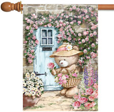 New Toland - Garden Gatherings - Teddy Bear Flower Floral Spring House Flag