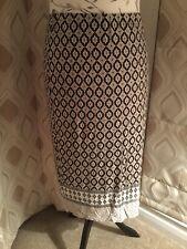 Dorothy Perkins Aztec Print Pull On Skirt, 18, Black, Cream Brown Print