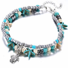 Boho Starfish Turtle Double Strand Beaded Shell Anklet Beach Ankle Chain UK A9