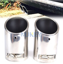 2 CHROME EXHAUST TAILPIPE TAIL PIPE TIP MUFFLER END TRIM FOR VW PASSAT B6 CC EOS