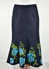 Denim Maxi Embroidered Skirt Blue Navy Winter Autumn Casual  W30 Size 10 AH