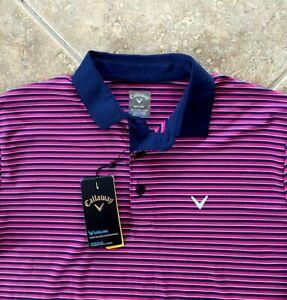 Callaway Opti-Dri Golf Shirt 2X 2XB Boudoir Red Striped UPF 40 Stretch NWT $80