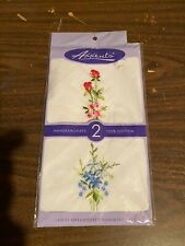 Vintage Axxents Ladies Embroidered Handkerchiefs 100% Cotton