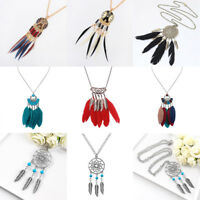 Women Feather Dream Catcher Pendant Boho Chain Necklace Bohemian Jewelry Gift