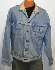 vtg Levi's BLUE JEAN LEATHER COLLAR Jacket LARGE 90s RedTab Trucker 75597 canada