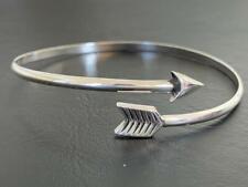 925 Sterling Silver Arrow Bangle Bracelet Open End Solid Cupid Love Women Girl