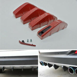 Car Rear Bumper Lower Diffuser Shark 4 Fins Spoiler Body Kits Carbon Fiber Style