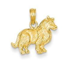 14K Yellow Gold Collie Dog (15x17mm) Pendant / Charm