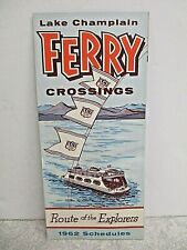 Vintage 1962 Lake Champlain Ferry Crossings Schedule Brochure Pamphlet Souvenir