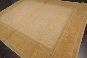 """9'1"""" x 11'10"""" French Hand Knotted Wool Loop & Cut Pile Designer Area Rug Beige"""