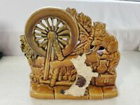 Vintage MCM McCoy Pottery Planter Cat & Scottie Dog Spinning Wheel Brown