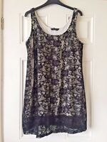 Ladies Dorothy Perkins Black Floral Lacey White Underskirt Dress Size 18 B8
