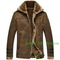 Mens Vintage Faux Leather Fur Fleece Bomber Flight Coats Jacket Outdoor 1214