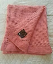 Vintage retro Lan Air Cel quality wool pink cellular blanket 72 x 90 inches