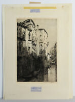 "11"" Etching Print Signed Andrew Affleck Rio Malibran Venice Gondolas View Art"